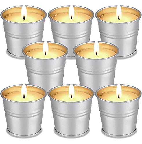 Vela Citronela Exterior - FURNIZONE 8 Velas de Citronela Vela Perfumada Velas Aromaticas para Exteriores, Camping, Jardín