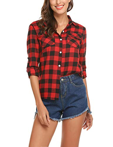 Christmas Shirts for Women Boyfriend Shirt Plaid Flannel Button Up Casual Loose Roll Long Sleeve Top