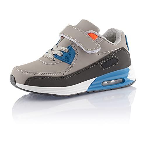 Fusskleidung® Mädchen Jungen Turnschuhe Dämpfung Sneaker Kinder Sportschuhe Grau Blau EU 34