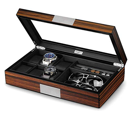Lifomenz Co Watch Jewelry Box for Men 6 Slot Watch Box,6 Watch Case 8 Pair Cufflinks and Sunglasses Display Box,Wood Large Watch Display Case Organizer with Real Glass Window Top