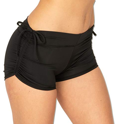 Made in USA Eco Friendly Yoga Shorts for Women, Adjustable Length Tie...