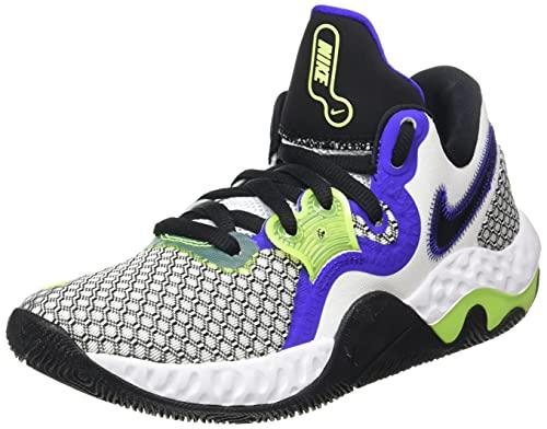 Nike Renew Elevate 2, Zapatillas de bsquetbol Unisex Adulto, White Black Volt Indigo Burst, 40 EU