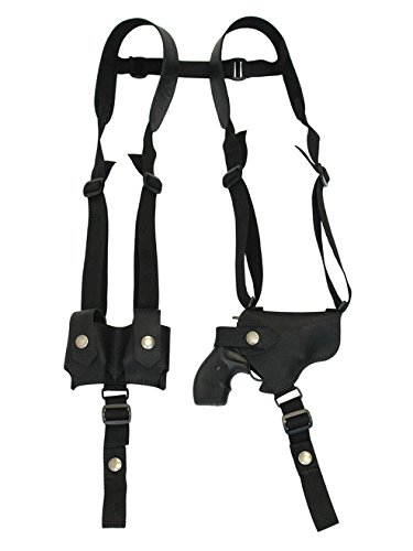 Barsony New Horizontal Black Leather Shoulder Holster w/Speed-Loader Pouch for Ruger LCR 38, 22 Right