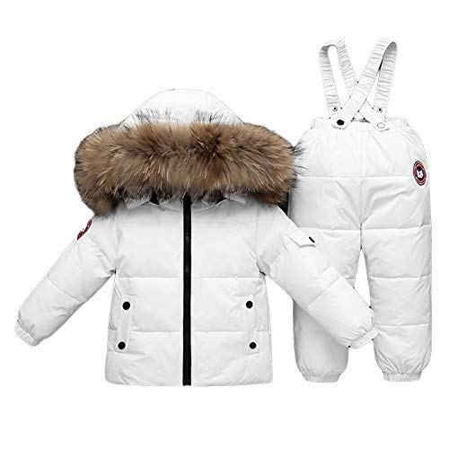 NXLWXN Baby Jongens Meisjes Winter Down Jassen Sneeuwpak Bovenkleding 2 Stks Kleding Hooded Jas Sneeuw Ski Bib Broek Outfits Set