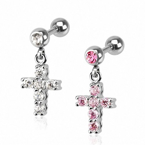 Kultpiercing - Helix/Tragus Piercing Kristall Kreuz - Pink