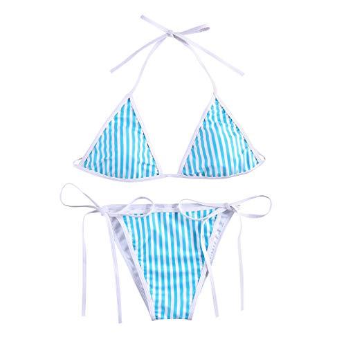 QingJiu 2020 Damen Neckholder Triangel Bikini Frauen Sommer Mode Niedrige Taille Gestreifter Druck Bademode Geteilter Badeanzug Beachwear Set