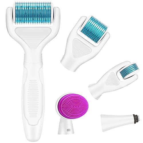 Dermaroller, Kastiny 6 in 1 Micronadeln Derma Roller für Gesichtspflege mit Micro-Needling, aus Edelstahl Micronadeln für Anti Falten, Schwangerschaftsstreifen, Haarausfall...