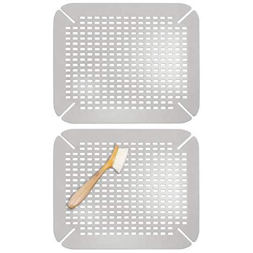 mDesign Juego de 2 escurreplatos adaptables para cocina – Protector de fregadero grande de plástico sin BPA – Práctica alfombrilla protectora de platos y vasos con diseño de rejilla – gris