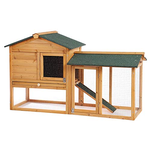 B BAIJIAWEI Wooden Rabbit Hutch Bunny Cage Outdoor Garden Backyard Chicken Coop Poultry Cage Pet House for Small Animals with Ramp and Removable Tray