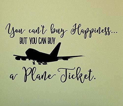 Travel Wall Decal, Traveling Quote, Airplane Wall Decal, Travel Decals- U kunt niet kopen geluk, maar kan kopen een vliegtuig Ticket gemakkelijk aan te brengen en verwijderbaar