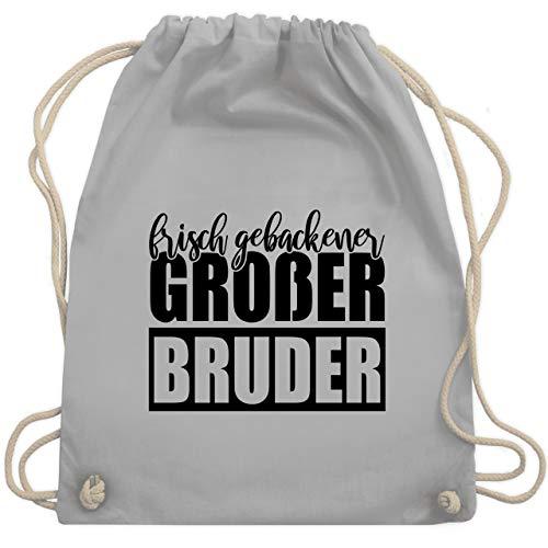 Shirtracer Bruder & Onkel - Frisch gebackener großer Bruder - schwarz - Unisize - Hellgrau - Statement - WM110 - Turnbeutel und Stoffbeutel aus Baumwolle