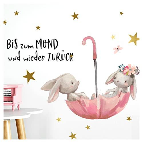 Little Deco Wandtattoo Babyzimmer Hasen & Spruch Bis zum Mond I Wandbild 51 x 28 cm (BxH) I Regenschirm Kinderbilder Deko Kinderzimmer Mädchen Aufkleber Sticker DL160