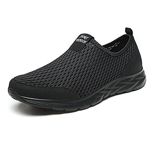 FOGOIN Laufschuhe Herren Damen Mesh Schuhe Slip On Sportschuhe Sneakers Walkingschuhe Leichte Atmungsaktiv Freizeitschuhe, Schwarz, Gr.46
