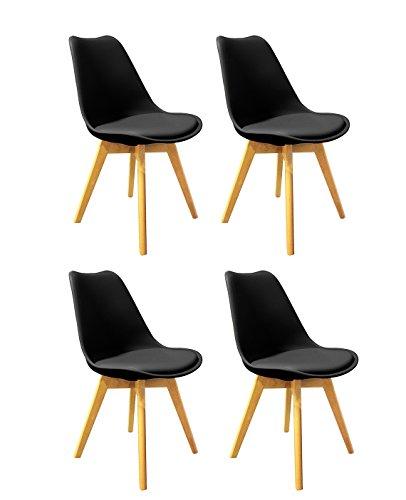 Meubletmoi Lot de 4 chaises Noires ET Bois - Style scandinave Vintage - Assise Moelleuse et Pieds Bois Massif - Confortable et Robuste - LIDY