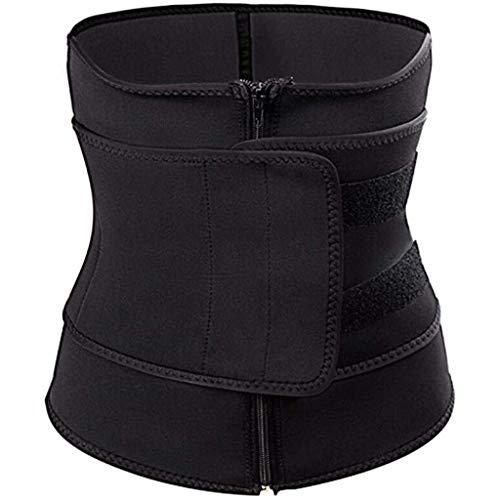Youmymine Waist Trainer Belt for Women - Unisex Waist Cincher Trimmer - Slimming Body Shaper Belt - Sport Girdle Zipper Belt (L, Black)