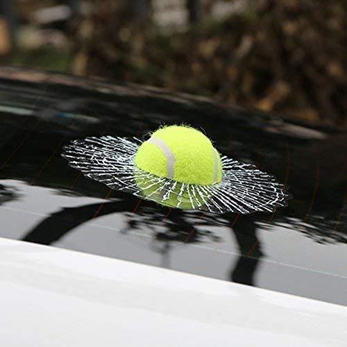 Maitech Tennis Car Stickers, 3D Self Adhesive Prank Tricky Broken Glass Window Sticker Tennis Stickers