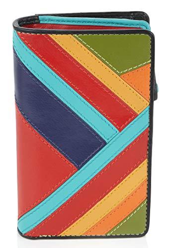 Visconti ® Leder Portemonnaie Damen RFID Schutz Geldbeutel Damen Geldbörse Bifold Mehrfarbig Portmonee in Geschenk-Box