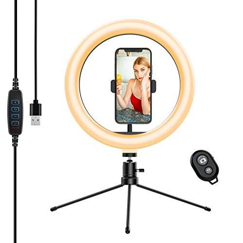 Anozer 10,2'' Selfie LED Ringlicht mit Stativ (Metall) Fernauslöser, 6500K Ringleuchte dimmbar Tisch Ring licht 3 Farben 10 Helligkeit, Live Licht für YouTube, Live-Stream, Porträt, Tiktok, Foto usw.