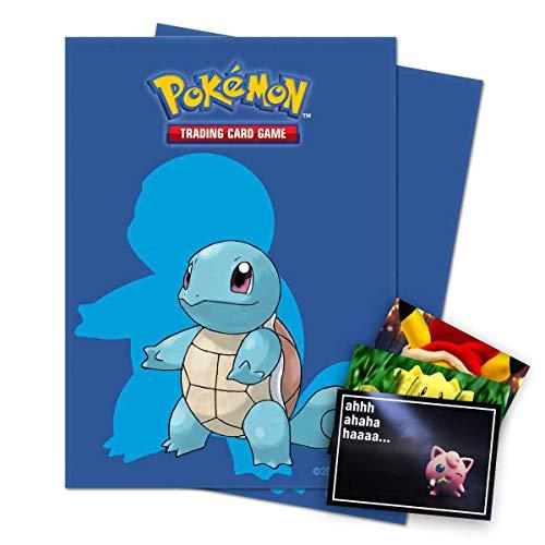 Lively Moments Pokémon Ultra Pro Standard - Fundas para cartas coleccionables (65 unidades, con diseño de Schiggy y tarjeta de felicitación exclusiva)
