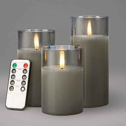 CHRISTOW Flickering LED Candles With Remote Control Timer Glass Case Set Of 3