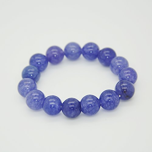 Montip Lynn Pulsera elástica de piedras preciosas tibetanas para hombres y mujeres, 10 mm, color azul