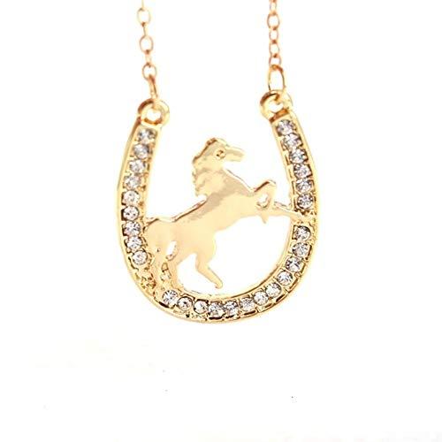 chenyou Collar con colgante de caballo y herradura (color: 40 cm, tamaño: oro amarillo claro)