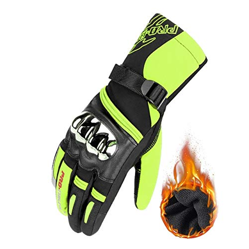 Bruce Dillon Motorcycle Gloves Cycling Gloves Gloves Breathable Motorcycle Full Finger Waterproof and Windproof Winter -  Green X L