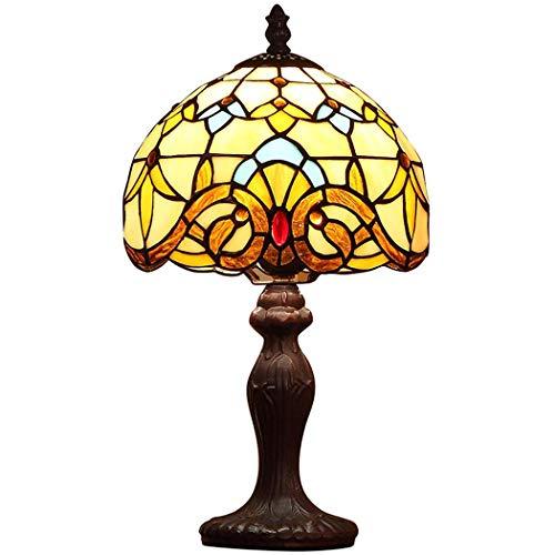 BEAR&MH Tiffany Style Tischleuchte, barocke braune Tischlampe mit Metallgestell und Glasmalerei,...