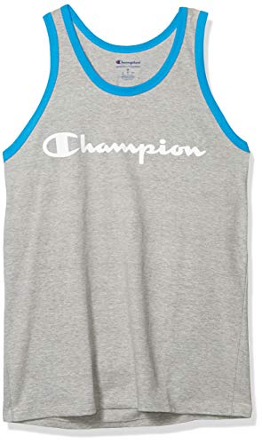 Champion Classic Graphic Tank - Camiseta para Hombre, Gris Oxford/Agua Azul Profundo, Medium