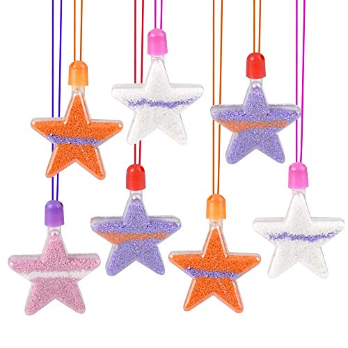 ArtCreativity Star Sand Art Bottle Necklaces, Pack of 12, Sand Art Craft Kit with Star Shaped Bottles, Craft Party Supplies and Party Favors for Kids - Sand Sold Separately
