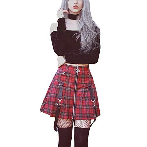 Falda Midi a Cuadros de Verano para Mujer, Minifalda por Encima de la Rodilla de Cintura Alta con cinturón Desmontable para niñas (Red, M)