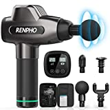 Massage Gun, RENPHO Deep Tissue Muscle Massager, Powerful Percussion Massager Handheld with Portable Case for Home Gym Workouts Equipment, Back Neck Shoulder Soreness Stiffness Knots Tension Relief
