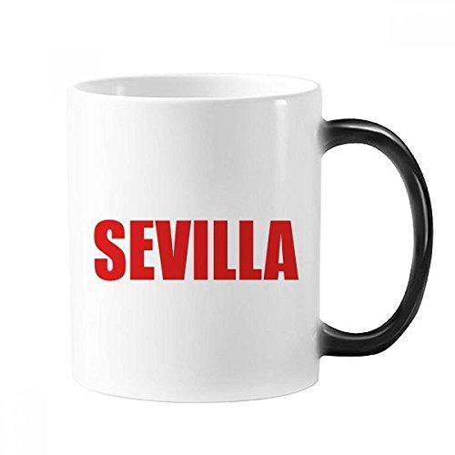 Sevilla Spain City Taza roja cambiante color taza Morphing sensible al calor 350ml