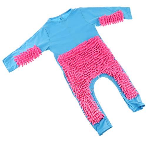 Fenteer Baby Kleidung Wischmop Strampler Reinigungsmop Overall Mädchen Jungen Jumpsuit Babykleidung zum Krabbeln - Blau + Rosenrot, 73 cm