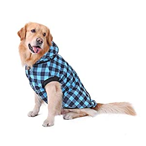 PAWZ Road Dog Plaid Shirt Coat Hoodie Pet Winter Clothes Warm and Soft for Medium and Large Dog Blue 2XL