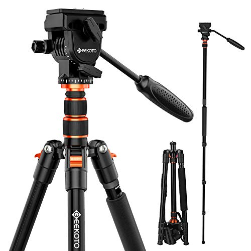 """GEEKOTO Video Tripod Fluid Head,Professional Camera Tripod for DSLR,Monopod Aluminum 77"""" for Video Camcorder Canon Nikon Sony with 1/4"""" Screws Fluid Drag Pan Head,Load Capacity up to 20 Pounds"""