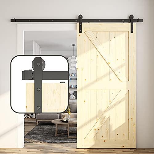 skysen 6FT Single Door Sliding Barn Door Hardware Track Kit Black (I Shape)