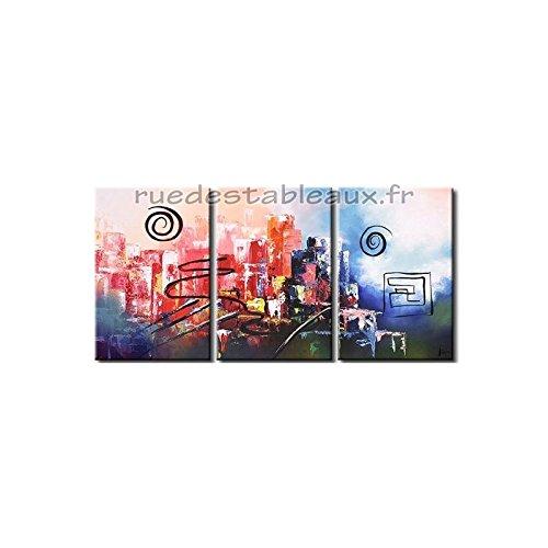 Città Animata - ruedestableaux - Dipinti astratti - pitture pittoriche - deco dipinti - quadri su tela - quadri moderni - quadri dipinti - dipinti su trittico - decorazione murale - pitture decorative - pitture moderne - pitture contemporanee - pitture economiche - pitture xxl - pitture astratte - pitture colorato - tavolo da disegno