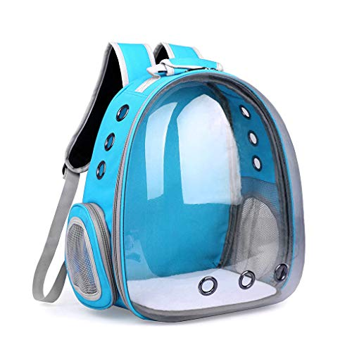 Luluspace Haustier Rucksack Raumkapsel, 360 ° Sichtfeld Tragbar Transportrucksack Transporttasche Tragetasche für Klein Haustier Hunde Katzen Kaninchen im Freien, Sicher & Atmungsaktiv (Hellblau)