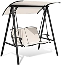 Tangkula 2-Person Patio Swing, Weather Resistant Glider with Adjustable Canopy, Outdoor Modern Canopy Swing Hammock Seats with Handrails Suitable for Porch Garden Poolside (Beige)