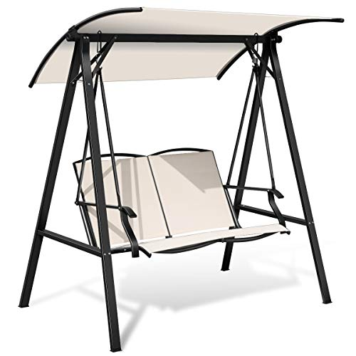 Tangkula 2-Person Patio Swing, Weather Resistant...