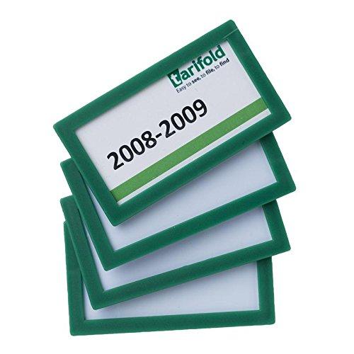 Tarifold Es 194805 - Pack de 4 marcos de identificación, Etiquetas magnéticas porta-precios, porta referencias, porta-nombres dorso magnético- 80 x 45 mm - Color Verde