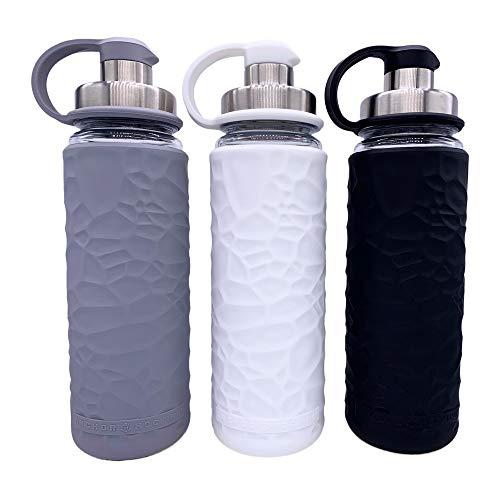 Anchor Hocking Life Wasserflaschen aus gehärtetem Glas, mit Silikonhülle, 3 Stück, je 19,5 Unzen, BPA-frei, breiter Öffnung, auslaufsicher, Wiederverwendbare Wasserflaschen, grau/weiß/schwarz