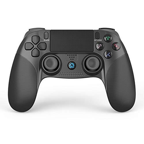 【2021年最新型】PS4 コントローラー SHINEZONE ワイヤレス 500mAh容量バッテリー Bluetooth接続 振動機能 重力感応 ゲームパット イヤホンジャック スピーカー 最新バージョン対応 DUALSHOCK 4代用 日本語説明書付き(ブラック)