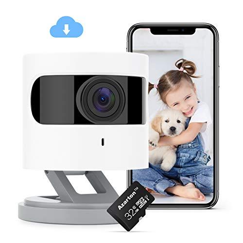Azarton WiFi Kamera, 1080p HD WLAN IP Kamera, Smart Home Überwachungskamera Innen mit IR Farbnachtsicht, Micro-SD Speicherkarte 32 GB Klasse 10, Azarton App, kompatibel mit Alexa, Google Assistant