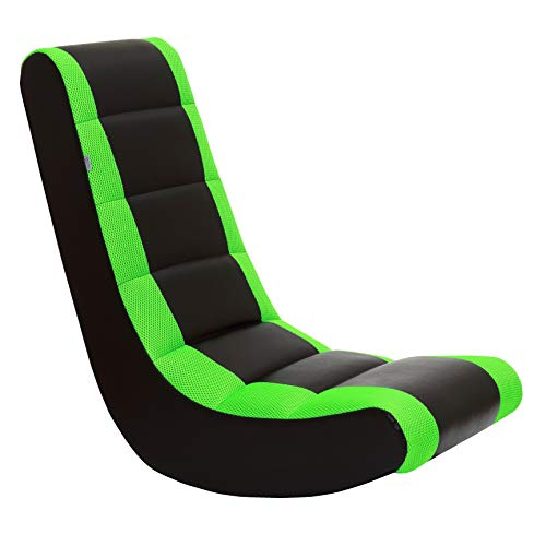 The Crew Furniture 991590 Classic Video Rocker Black/Neon Green Mesh Racing...