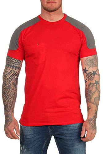 Mivaro Herren Arbeitsshirt mit Brusttasche, waschbar bis 60 °C, T-Shirt für die Arbeit, Größe:S, Farbe:Rot