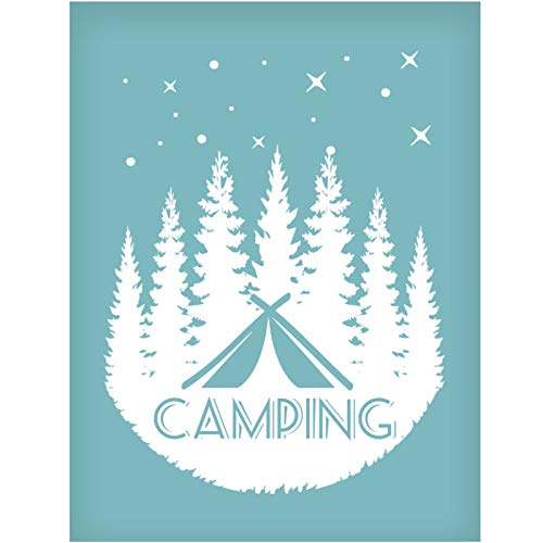 OLYCRAFT Silk Screen Printing Stencil Self-Adhesive Silk Screen Mesh Transfer, Christmas Theme Pattern Mesh Transfers for T-Shirt Pillow Fabric Painting, Reusable and Washable- Camping