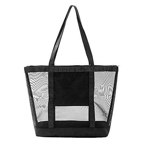 MiOYOOW Bolsa de playa, bolsa de malla para almacenamiento en la playa, bolsa de almacenamiento multibolsillos, bolsa de juguete sin arena para picnic en la playa