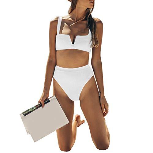 Dylandy Bikini Swimsuit Tie Knot Front Swimwear Set Floral Printing Bottom Halter Padding Bikini Set .L